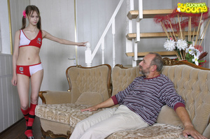 Young girl in red and white skimpy outfit sucks big cock and gets fucked on sofa - XXXonXXX - Pic 1
