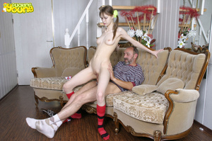 Young girl in red and white skimpy outfit sucks big cock and gets fucked on sofa - XXXonXXX - Pic 13