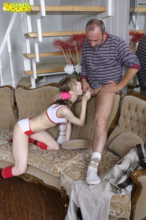Dirty old man makes young chick in ponytails suck his cock and fucks her on sofa - XXXonXXX - Pic 11