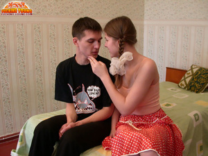 Young babe in pink top and red skirt gives blowjob and gets rammed on bed - XXXonXXX - Pic 1