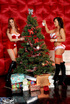 Lusty hottie is with her luscious friend putting decorations on a X-mas