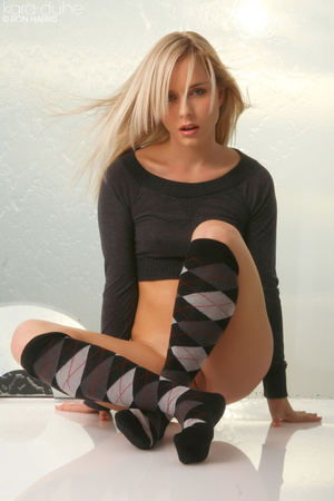 Blond in a thin black sweater and socks is hot and steamy under. - XXXonXXX - Pic 5