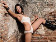 brunette ally striptease