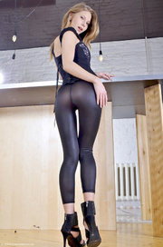 blond wearing tights that
