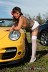 Trollop in white frilly panties poses by a yellow…