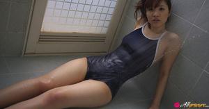 Bimbo gets wet in the bathroom in her blue swimsuit. - XXXonXXX - Pic 10