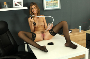 Awesome trollop in a black dress and stockings plays with a pink toy. - XXXonXXX - Pic 12