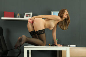 Awesome trollop in a black dress and stockings plays with a pink toy. - XXXonXXX - Pic 15