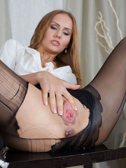 Fabulous toots rips her black pantyhose and pisses - XXXonXXX - Pic 5