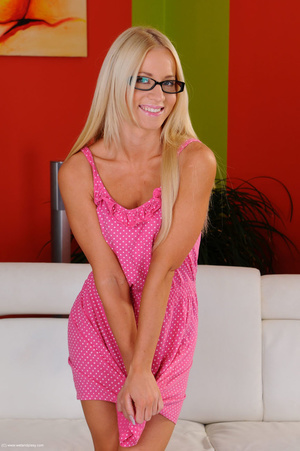 Divine beav in a pink dress and in glasses goes deep with a jelly toy. - XXXonXXX - Pic 1