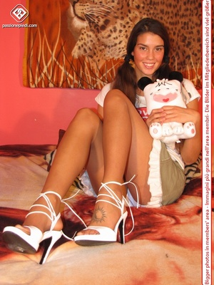 Amazing pigtailed teen brunette posing in pantyhose and short skirt - XXXonXXX - Pic 1