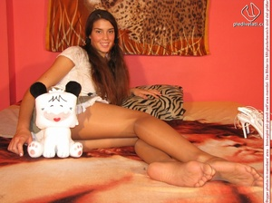 Amazing pigtailed teen brunette posing in pantyhose and short skirt - XXXonXXX - Pic 13