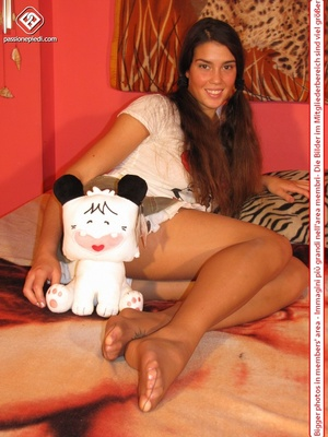 Amazing pigtailed teen brunette posing in pantyhose and short skirt - XXXonXXX - Pic 14