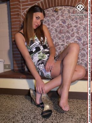 Very ht dark-haired teen in a lovely dress and sexy high heels - XXXonXXX - Pic 3