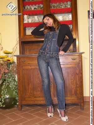 Brunette teen hottie in a jeans one-piece and pantyhose under it takes off her shoes - XXXonXXX - Pic 1