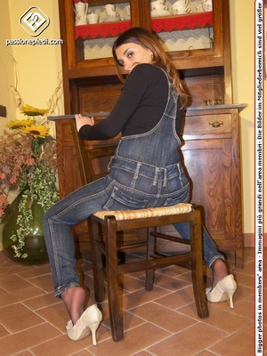 Brunette teen hottie in a jeans one-piece and pantyhose under it takes off her shoes - XXXonXXX - Pic 4