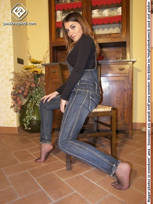 Brunette teen hottie in a jeans one-piece and pantyhose under it takes off her shoes - XXXonXXX - Pic 5