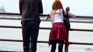 Cute girl in white top and short jeans skirt sucks and fucks boyfriend in park - XXXonXXX - Pic 1