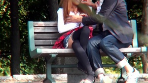 Cute girl in white top and short jeans skirt sucks and fucks boyfriend in park - XXXonXXX - Pic 2