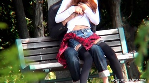 Cute girl in white top and short jeans skirt sucks and fucks boyfriend in park - XXXonXXX - Pic 4