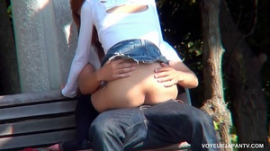 Cute girl in white top and short jeans skirt sucks and fucks boyfriend in park - XXXonXXX - Pic 11
