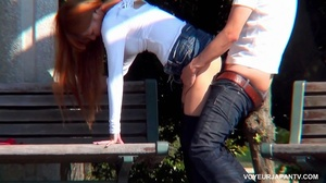 Cute girl in white top and short jeans skirt sucks and fucks boyfriend in park - XXXonXXX - Pic 15