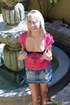 Heavenly vamp in a denim skirt gives us a peek of…