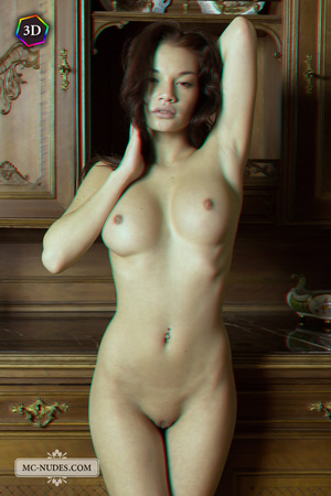 Stunning fledgling modelling without clothes on a big China cabinet. - XXXonXXX - Pic 1
