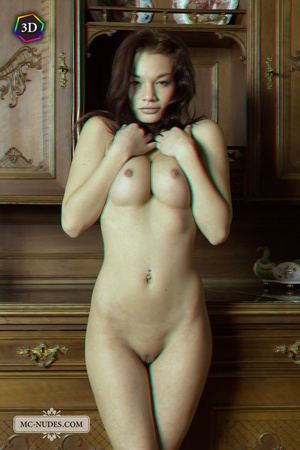 Stunning fledgling modelling without clothes on a big China cabinet. - XXXonXXX - Pic 5
