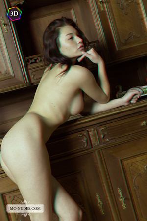 Stunning fledgling modelling without clothes on a big China cabinet. - XXXonXXX - Pic 7