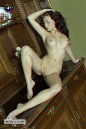 Stunning fledgling modelling without clothes on a big China cabinet. - XXXonXXX - Pic 8