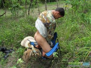 Bloke in camo gear spanks his monkey in the woods. - XXXonXXX - Pic 10