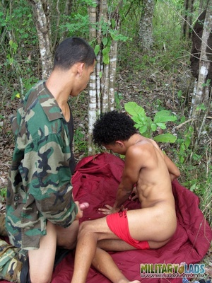 Military man in camo uniform does it with a civilian guy in the woods. - XXXonXXX - Pic 13