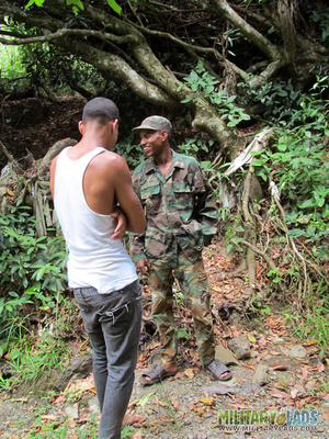 Civilian dick for a military man's mouth in the woods. - XXXonXXX - Pic 3