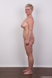 busty short-haired blonde mature