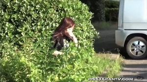 Young Asian hotties in public look for quiet play to spray piss outdoors - XXXonXXX - Pic 2