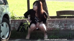 Young Asian hotties in public look for quiet play to spray piss outdoors - XXXonXXX - Pic 5