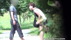 Young Asian hotties in public look for quiet play to spray piss outdoors - XXXonXXX - Pic 11