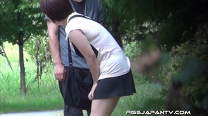 Young Asian hotties in public look for quiet play to spray piss outdoors - XXXonXXX - Pic 12