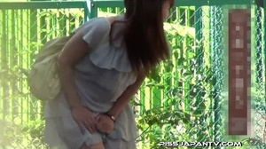 Asian beauty in stripped top and babe in short skirt bend and pee in public - XXXonXXX - Pic 4
