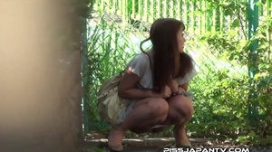 Asian beauty in stripped top and babe in short skirt bend and pee in public - XXXonXXX - Pic 6