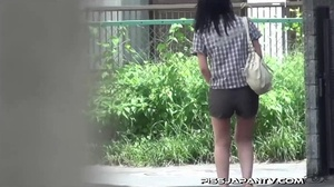 Asian beauty in stripped top and babe in short skirt bend and pee in public - XXXonXXX - Pic 12