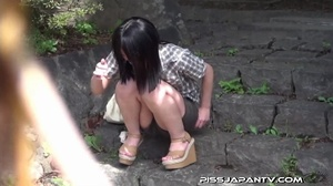 Asian beauty in stripped top and babe in short skirt bend and pee in public - XXXonXXX - Pic 13
