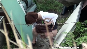 Public pissing action as pressed cute dressed girls just have to let go and pee - XXXonXXX - Pic 8