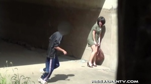 Shy Asian taking a pee gets interrupted before she lets hot pee flow outdoors - XXXonXXX - Pic 5