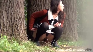 Hot dressed Asian chicks caught outdoors find quiet place to pee and show ass - XXXonXXX - Pic 8