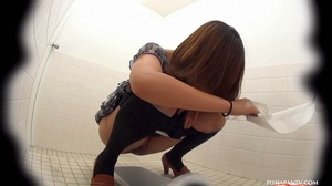 Secret camera in strain station toilet catch Asian babes splashing hot pee - XXXonXXX - Pic 11