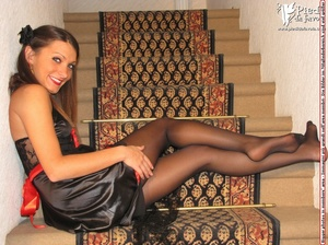 Lovely girl in black linen dress with stockings and red heels strips on the staircase. - XXXonXXX - Pic 8