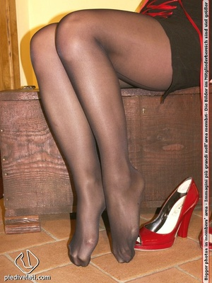 Cute redhead in red and black dress models hot feet in black hose and red shoes - XXXonXXX - Pic 10