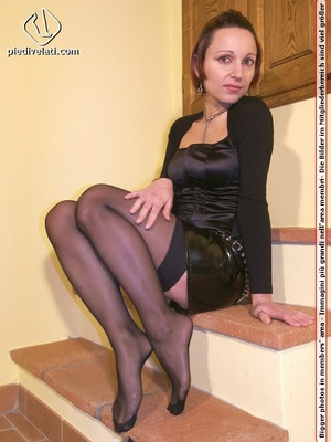 Hot seductress in cute black outfit, black shoes and hose shows sexy feet - XXXonXXX - Pic 5